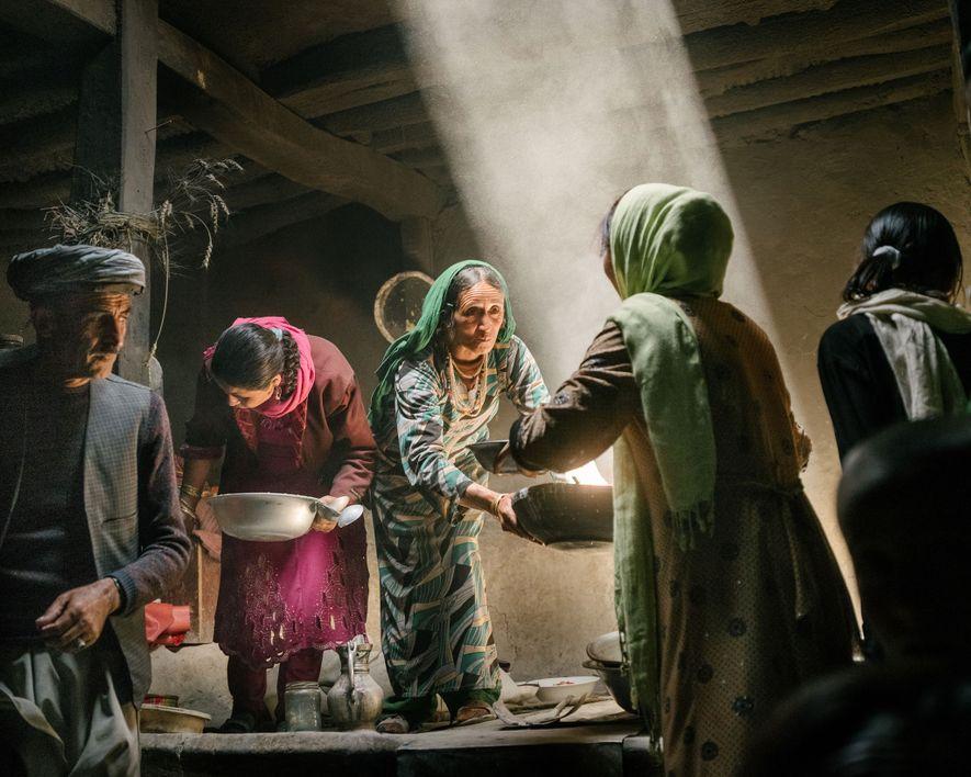 In the village of Qalahye Panjah, in Afganistan's Wakhan corridor, Wakhi women prepare food to celebrate ...