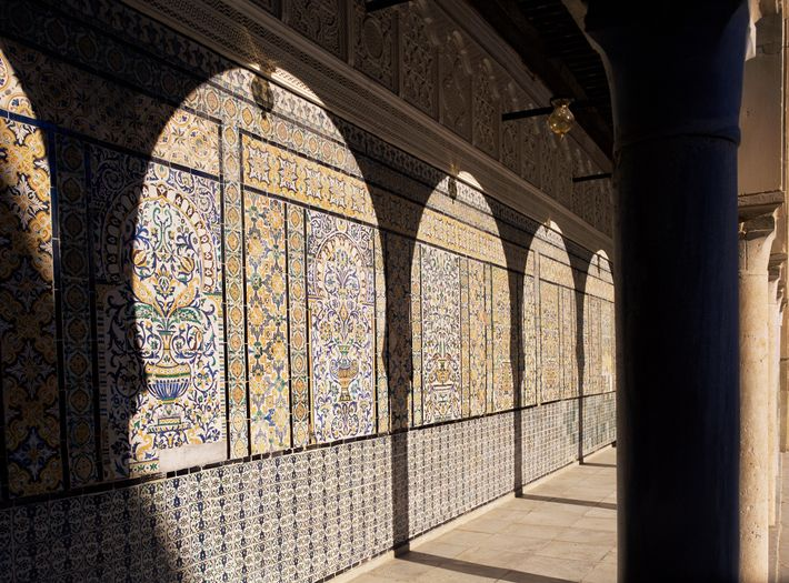 The Mosque of the Barber, in the northeastern city of Kairouan, is one of Tunisia's eight ...