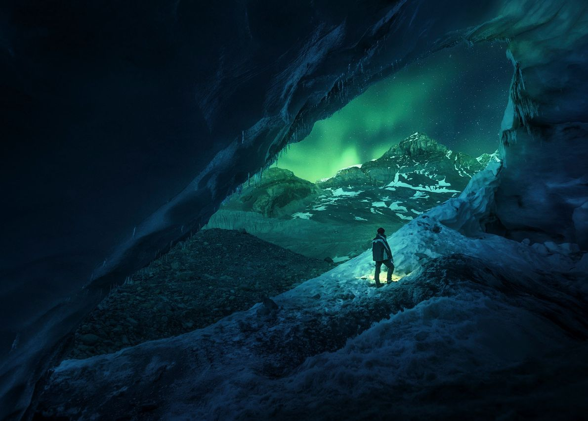 Athabasca cave is located on the edge of Canada's Athabasca Glacier, near the Columbia Icefield. During ...