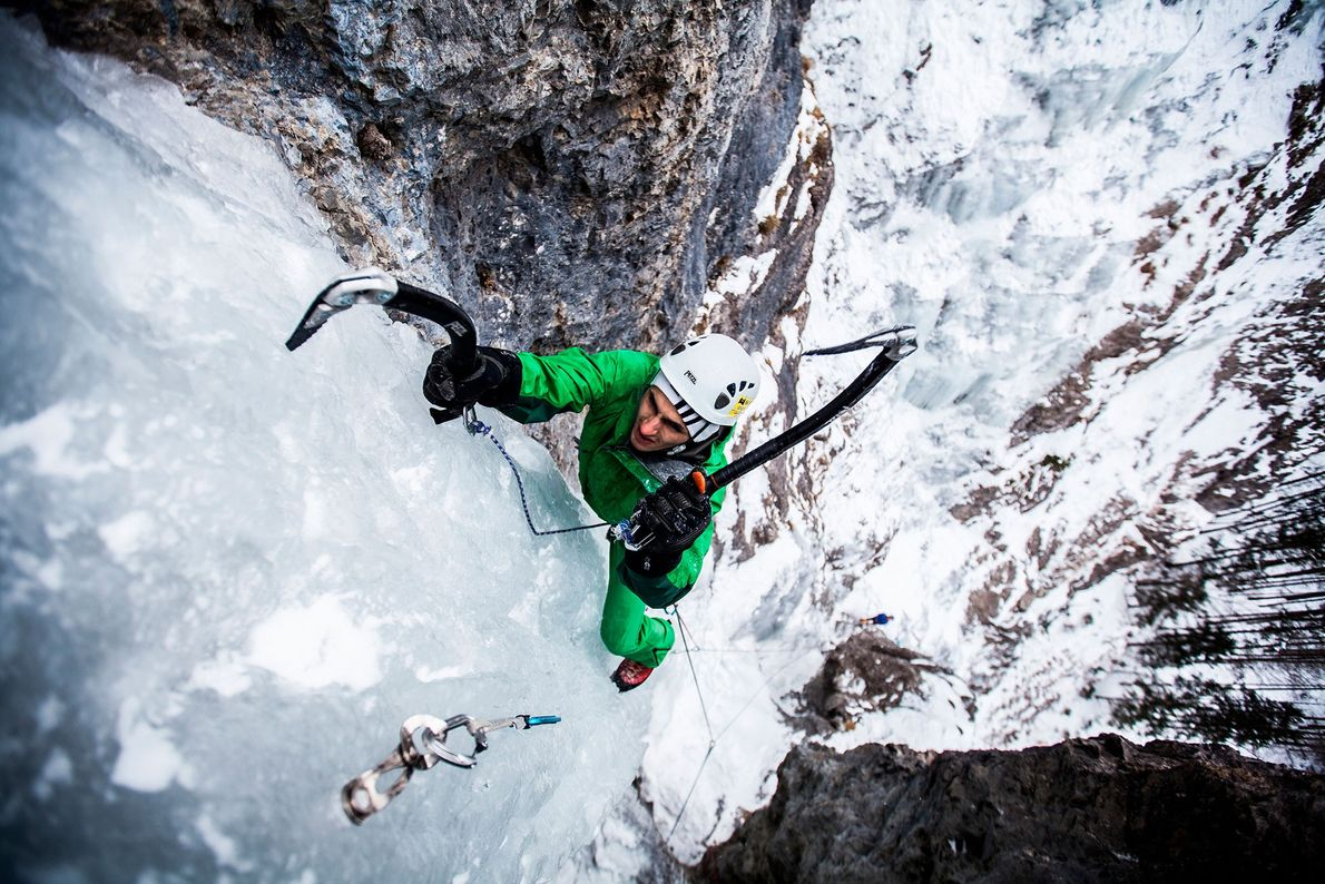 A climber pulls himself up the ice on the High Tatra mountains in Slovakia.