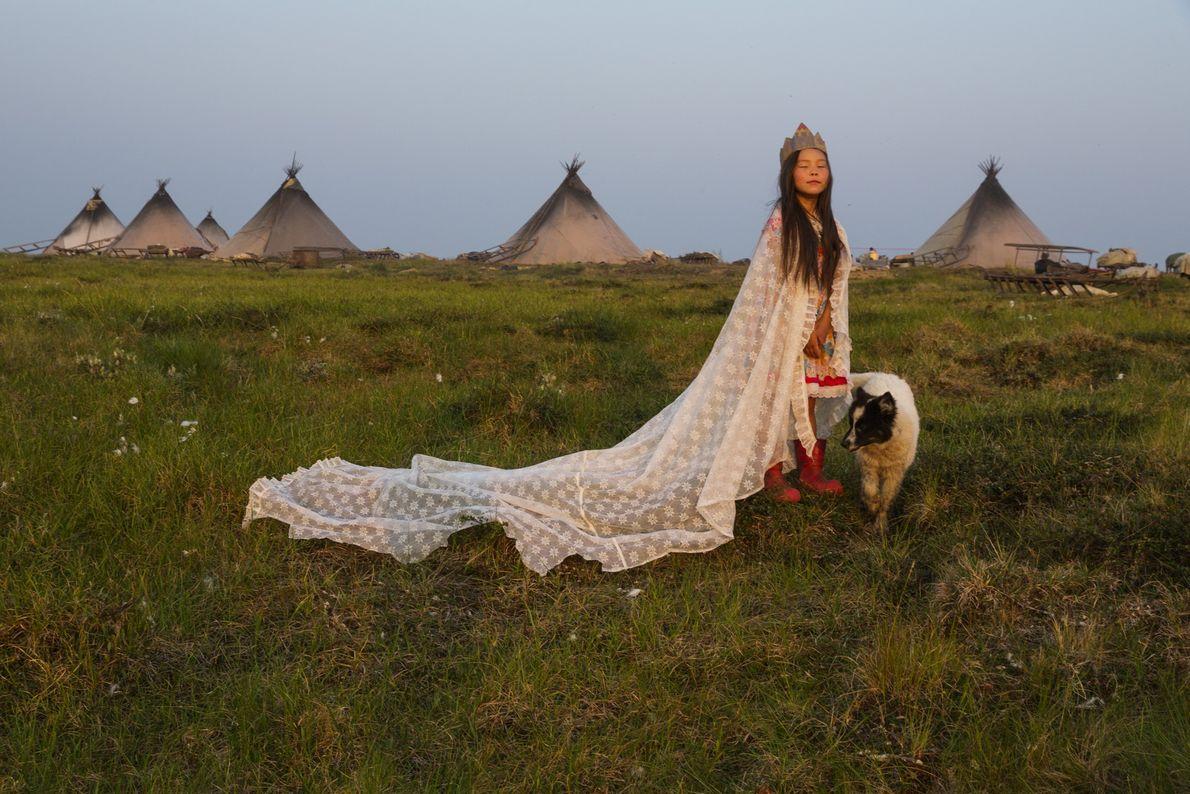 "YAMAL PENINSULA, Russia A curtain makes a fine cape, a cardboard box a regal crown. ""Princess of ..."