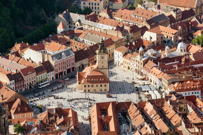 Brasov's main square, Piata Sfatului, Transylvania.