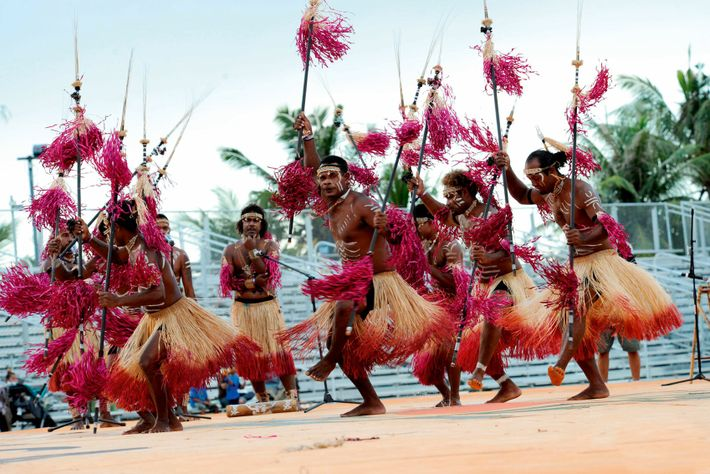 Performers at the Festival of Pacific Arts, in Hagatna, Guam, share a traditional dance.