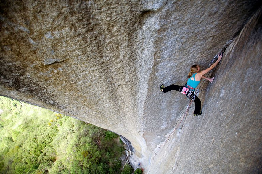 Beth Rodden climbs Book of Hate, a route rated 5.13d, in Yosemite National Park. Her climbs ...