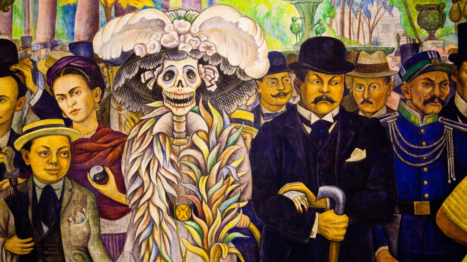 La Catrina Calavera as pictured on Diego Rivera's mural Dream of a Sunday afternoon in the ...