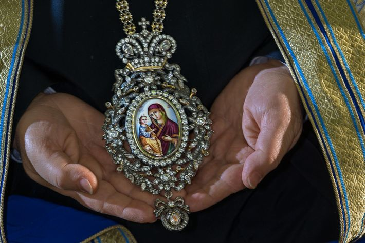 A bejewelled icon, or encolpion, worn by Theophilos III, Greek Orthodox patriarch of Jerusalem and all ...