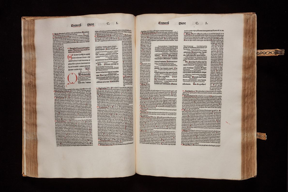 Annotated Bible printed in Strasbourg, France, in 1481.