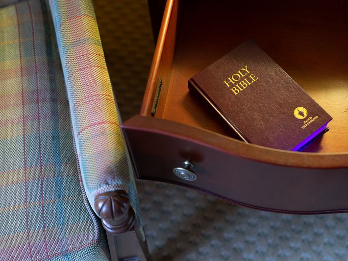 Bibles like this appear in hotel drawers worldwide, placed there by a group called the Gideons ...