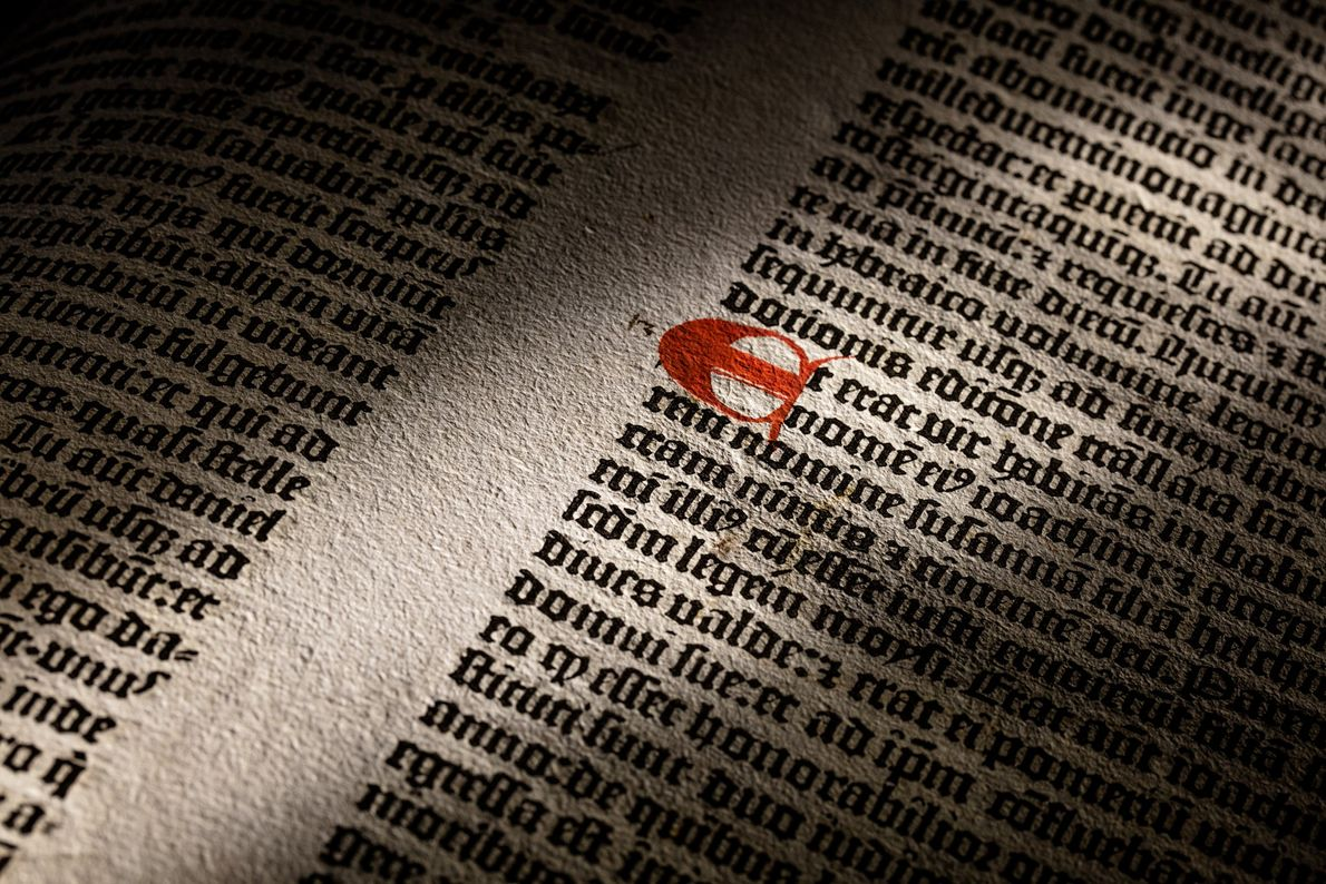 Text detail from a Gutenberg Bible printed in 1455.