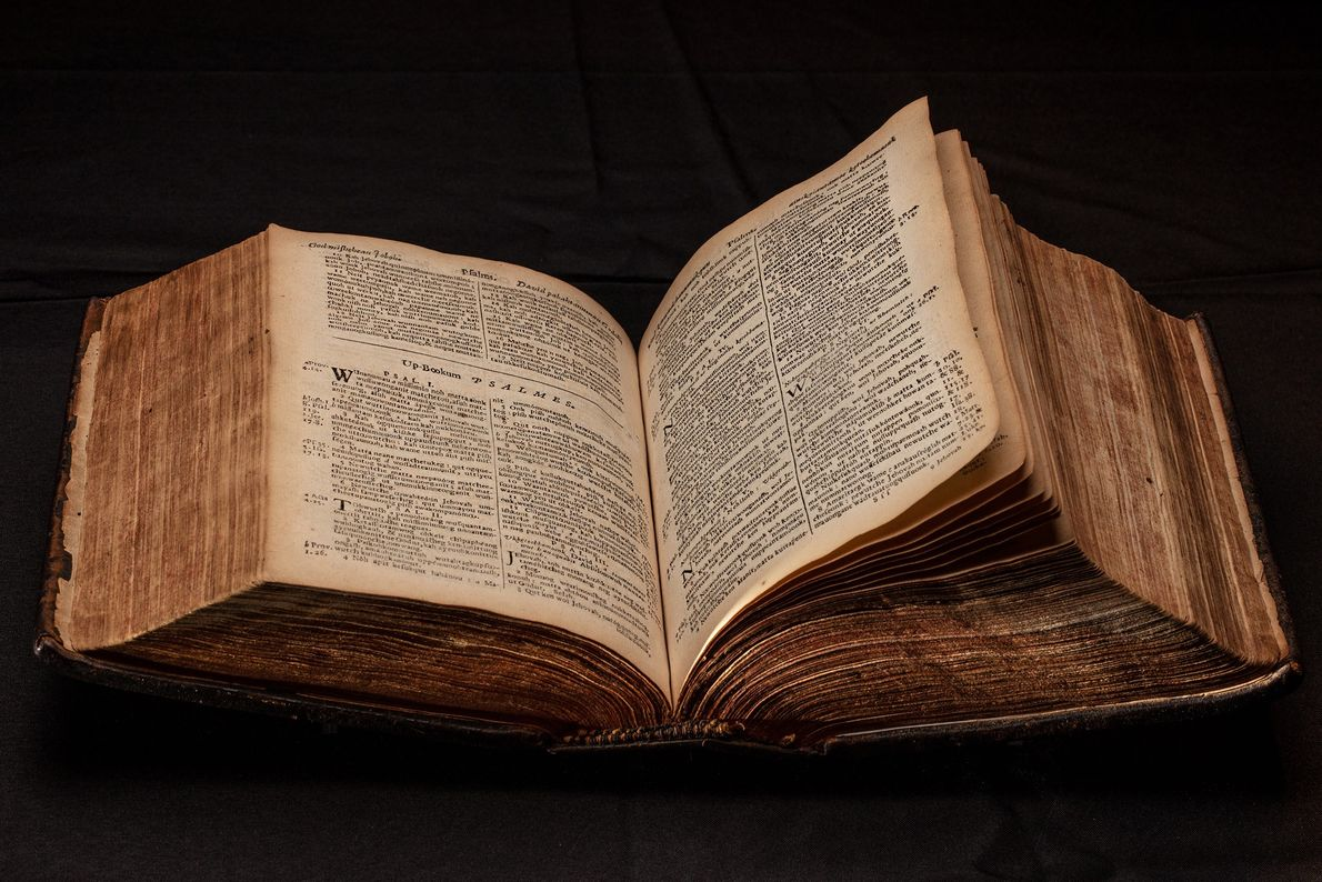 """Eliot """"Indian Bible"""" translated into Wampanoag, 1663, first complete Bible printed in U.S."""