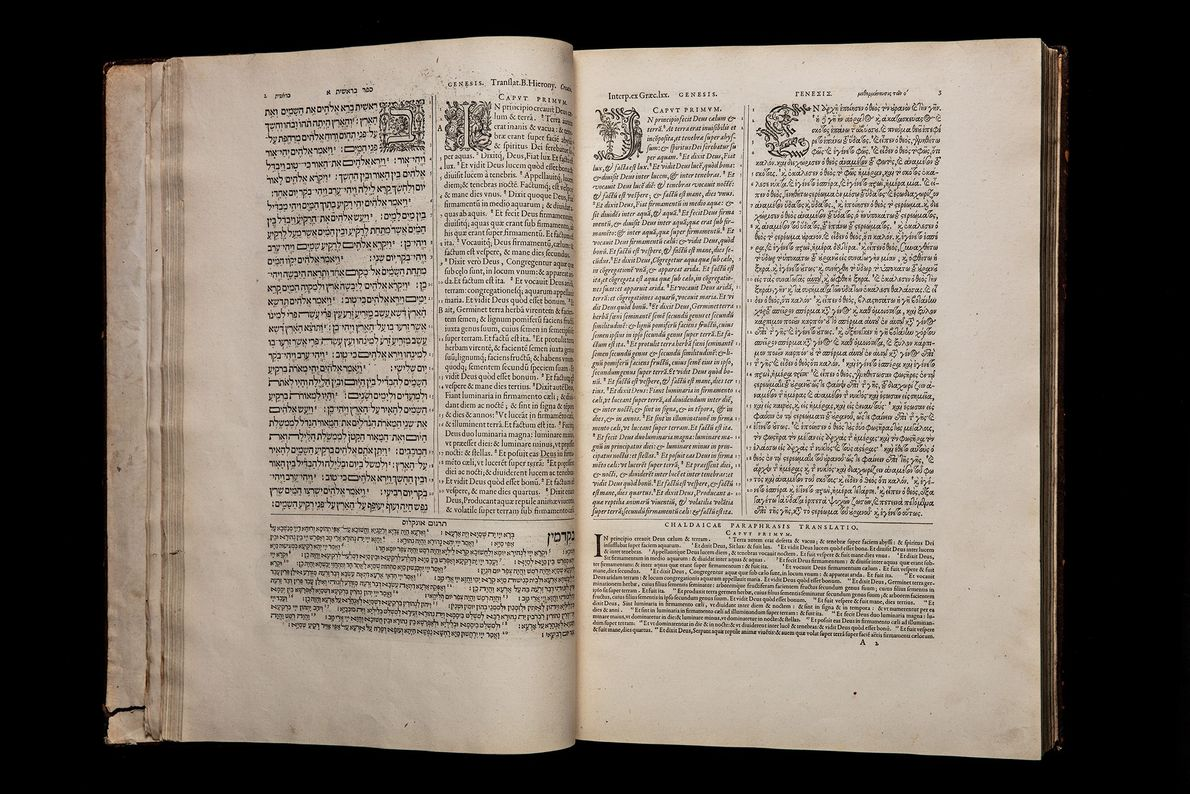 Plantin Polyglot Bible showing Hebrew, Greek, Aramaic, and Latin from Antwerp, Belgium, circa 1570.