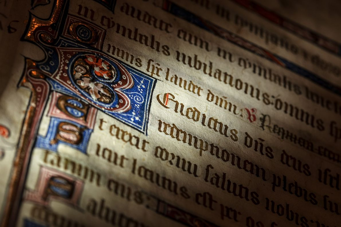 Book of hours and Psalter (book of Psalms) from the 1300s.