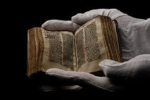 Hand copied around 1400, a Wycliffe New Testament on exhibit at a Christian theme park in ...