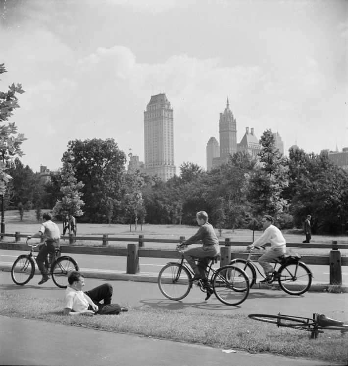 Young cyclists go for a spin in New York's Central Park in 1942. After taking the ...