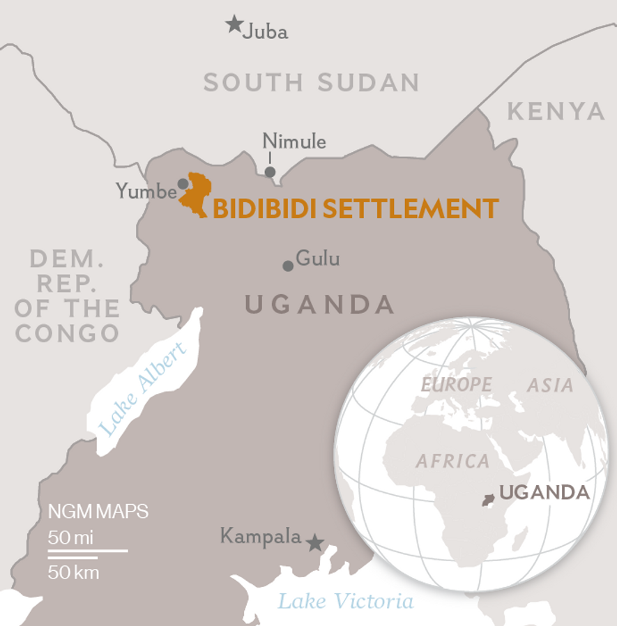 Bidibidi refugee settlement opened in 2016, as thousands of South Sudanese fleeing civil war entered Uganda.