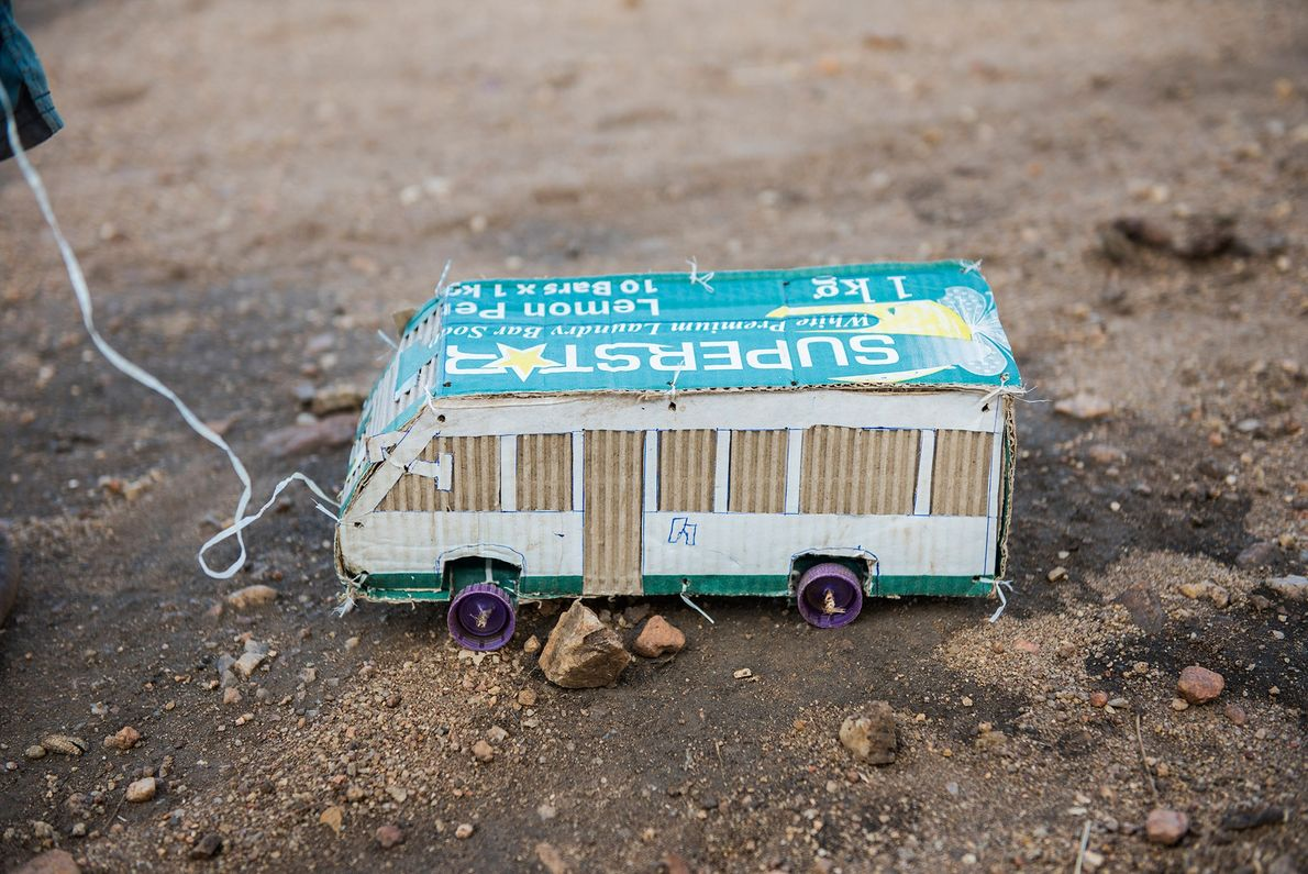 A box of laundry soap finds new life as a detailed minibus.