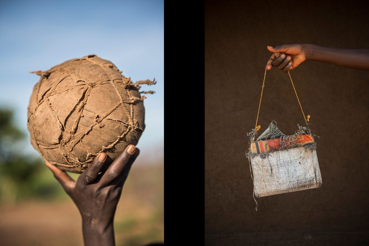 On the left, a soccer ball made of wrapped scraps and to the right, 8-year-old Alex ...