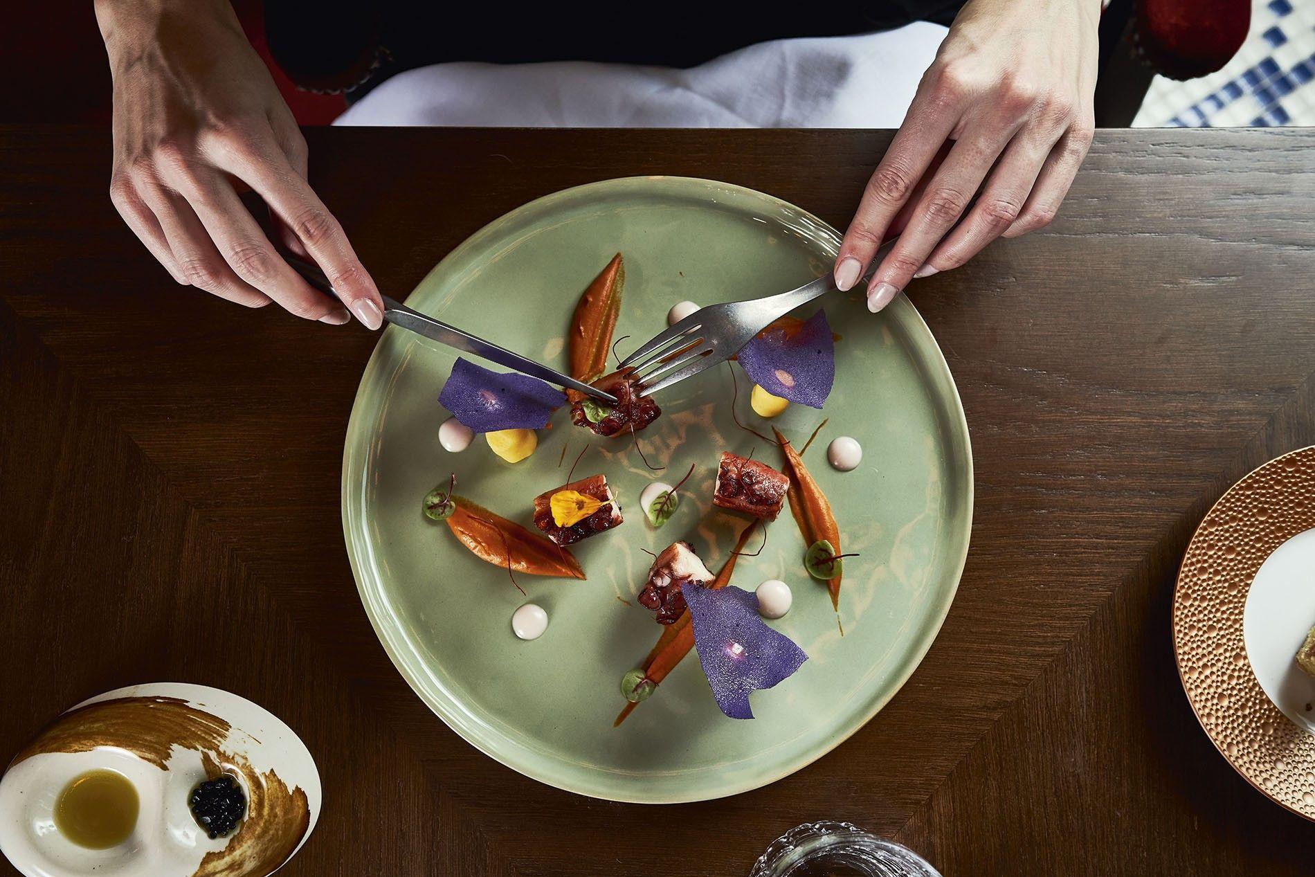 Grilled octopus on pepper puree, Etxeko restaurant, Bless Hotel