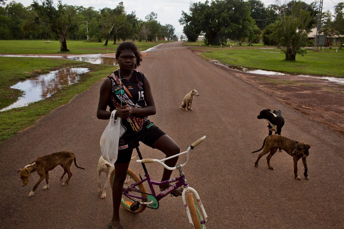 Dogs surround a girl on one of the main streets in Pirlangimpi, a town on Melville ...