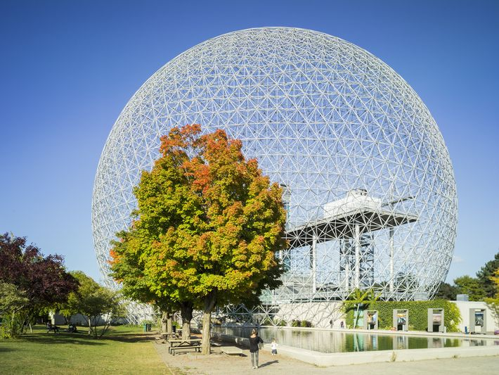 Designed for the 1967 World's Fair by Buckminster Fuller, the geodesic dome of the Biosphere draws ...