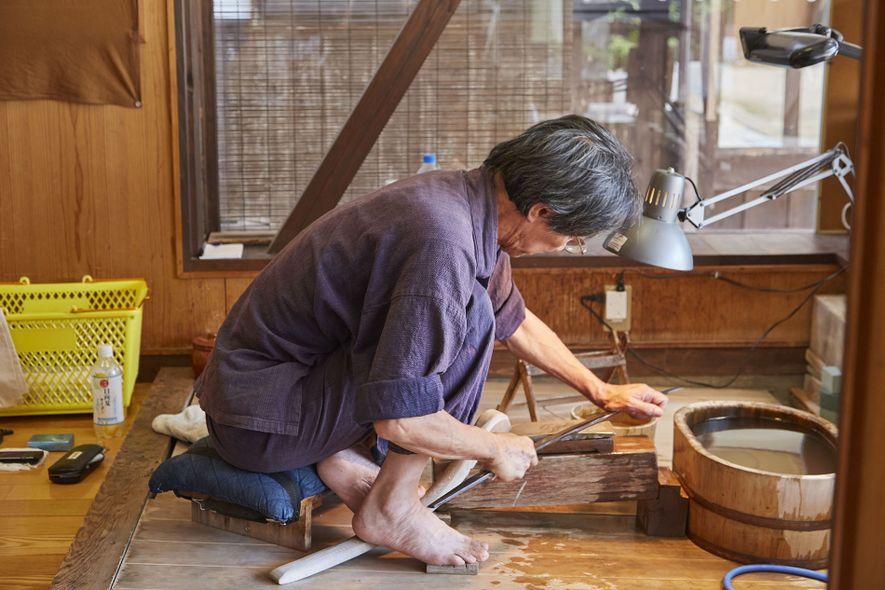 Making a sword at Bizen Osafune Sword Museum, Bizen
