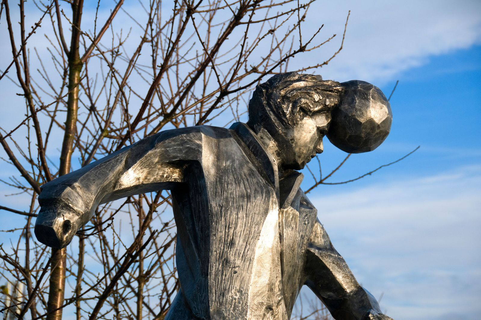 The header is an intrinsic part of football, to the point where sculptures, such as this in ...