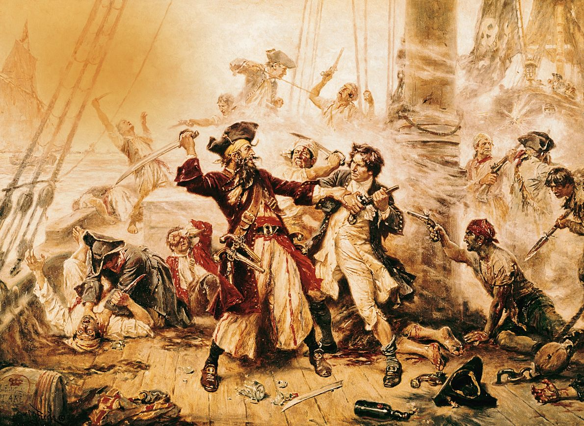 This 1718 oil painting depicts the notorious Blackbeard before his death at the hands of Lt. ...
