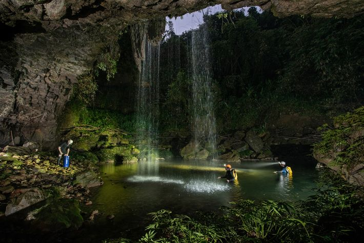 Locals have reported occasionally seeing the newfound cave fish in Chympe cave, seen here, where waterfalls ...