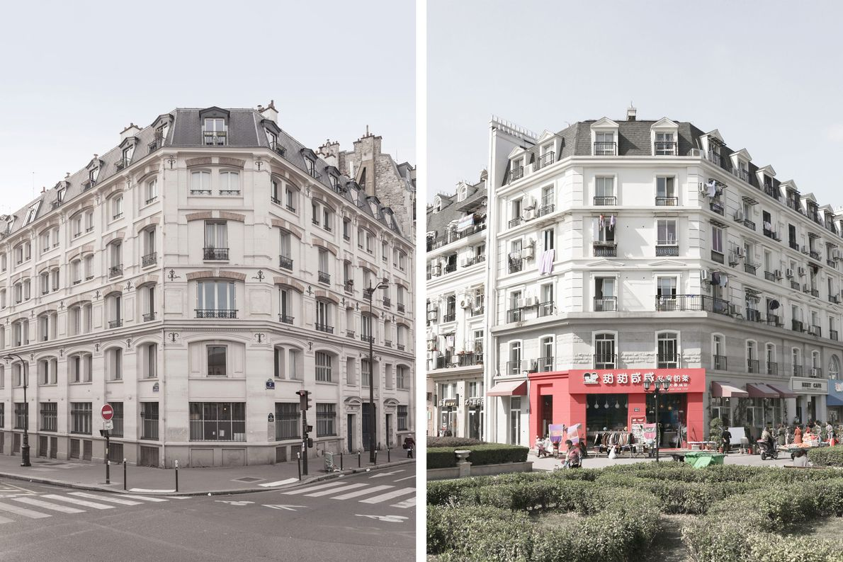 The buildings of Tianducheng (right) closely resemble the architecture of Paris (left).