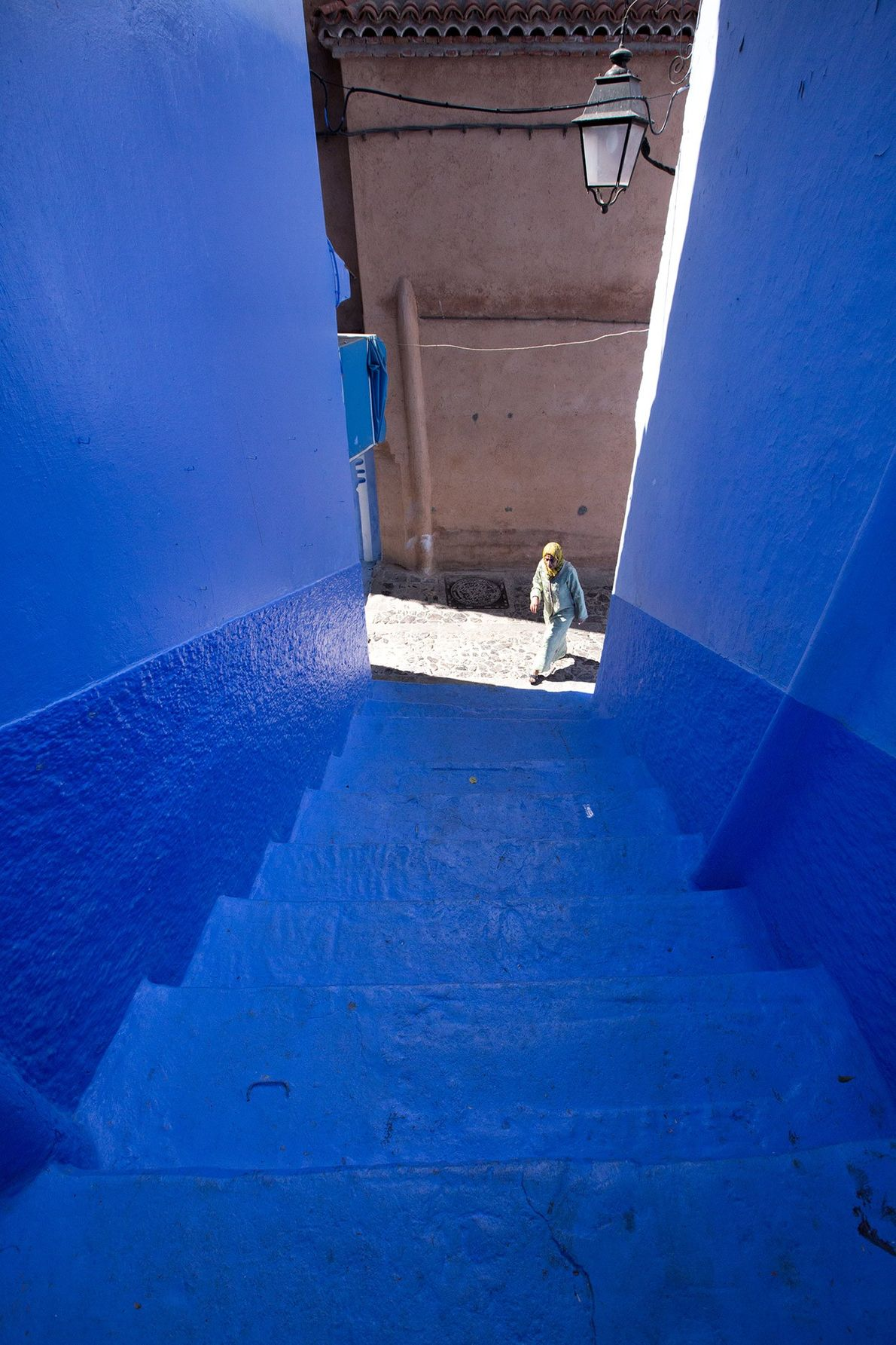 Morocco's blue city, Chefchaouen, is famous for its blue hue. Blue on walls, blue on stairs ...