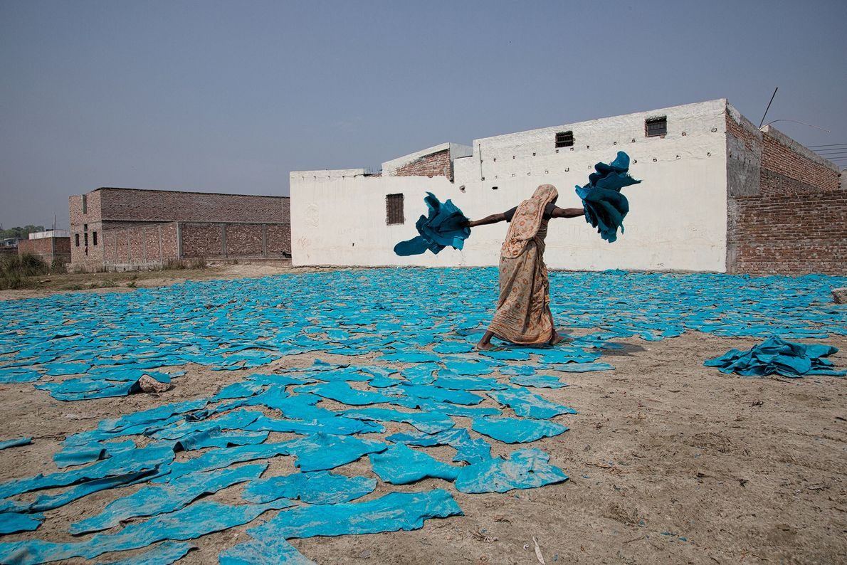 Leathers drying: a woman at work in a street outside Dacca, in Bangladesh. These piece of ...