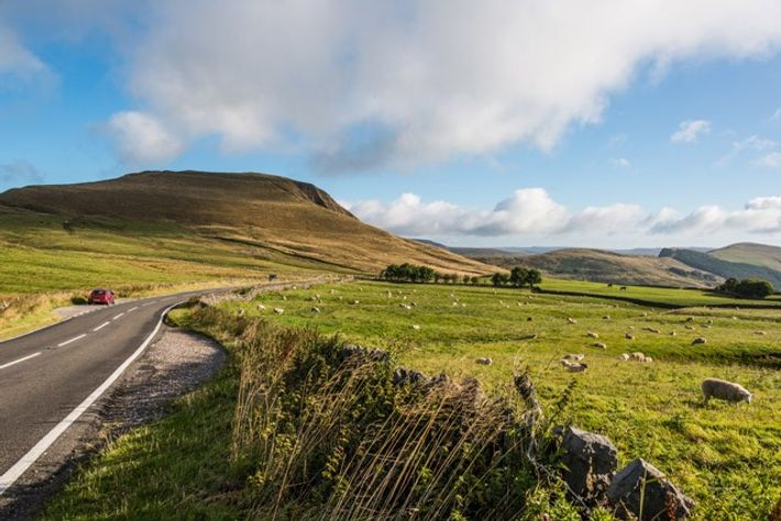 Mam Tor from the entrance to Blue John Cavern, Peak District. Image: Diana Jarvis