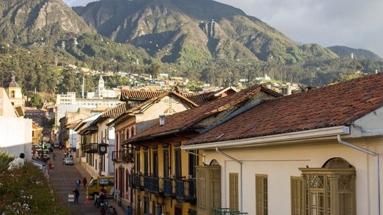 The Andes mountains provide a stunning backdrop for downtown Bogotá.