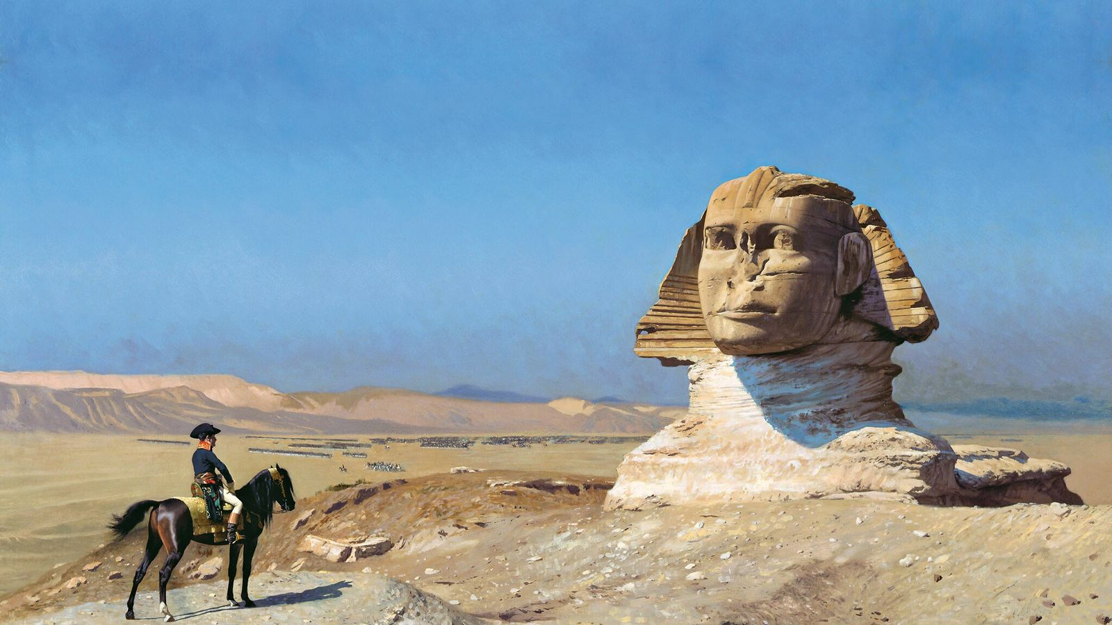 "Jean-Léon Gérôme's painting ""Bonaparte Before the Sphinx"" captures Napoleon's instinct that the glory of ancient Egypt ..."