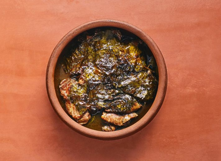 Veal shanks can be used as an alternative to short ribs when making Reem's grape leaf ...