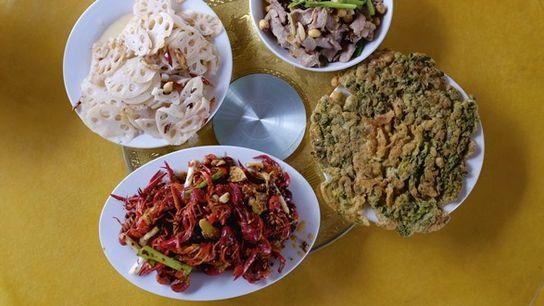 Crayfish and pork, stir fried with lotus seeds