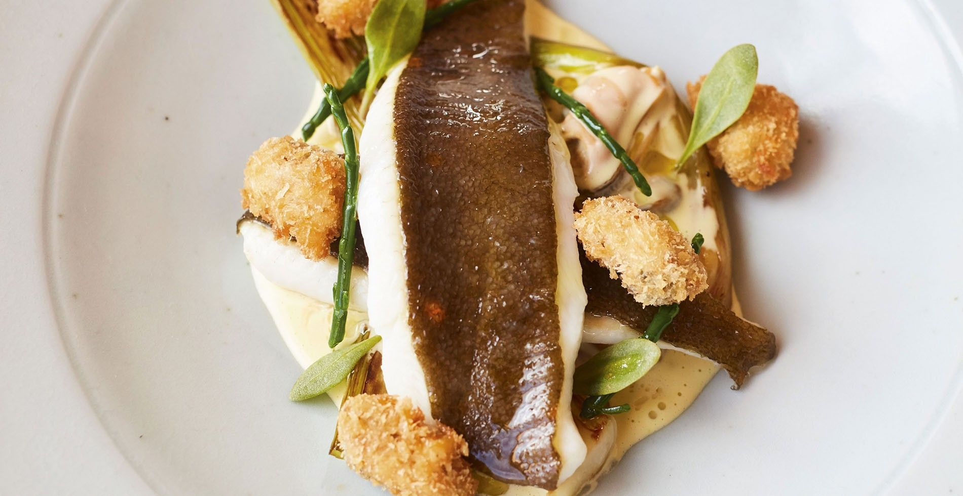 Plaice with mussels and samphire.