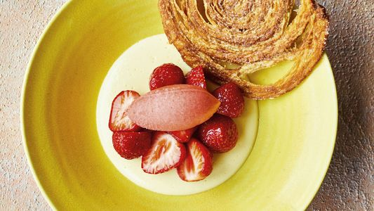 How to make it: Nathan Outlaw's strawberries, elderflower custard and strawberry champagne sorbet