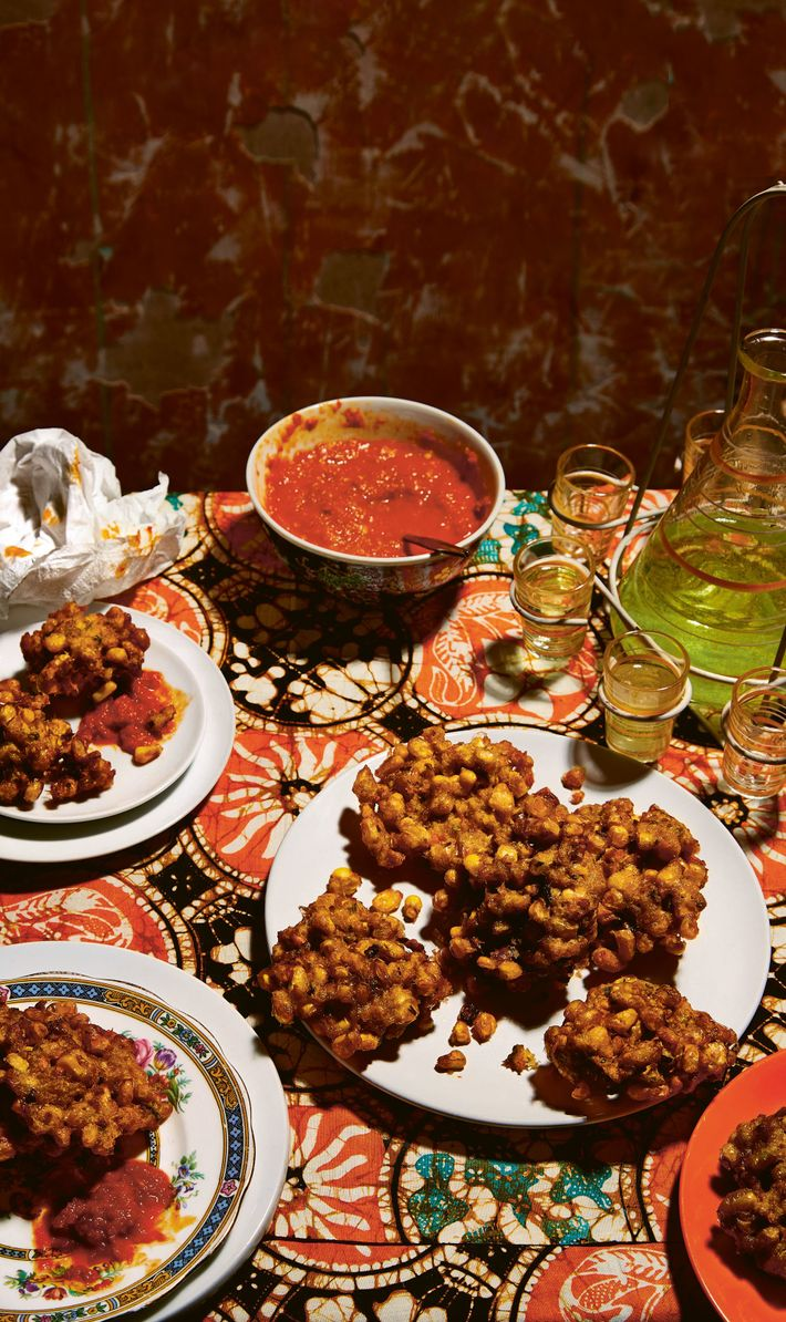 Spiced corn fritters.
