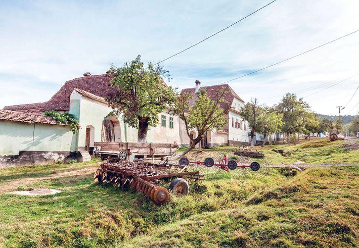 Cottages in the village of Viscri, Romania.