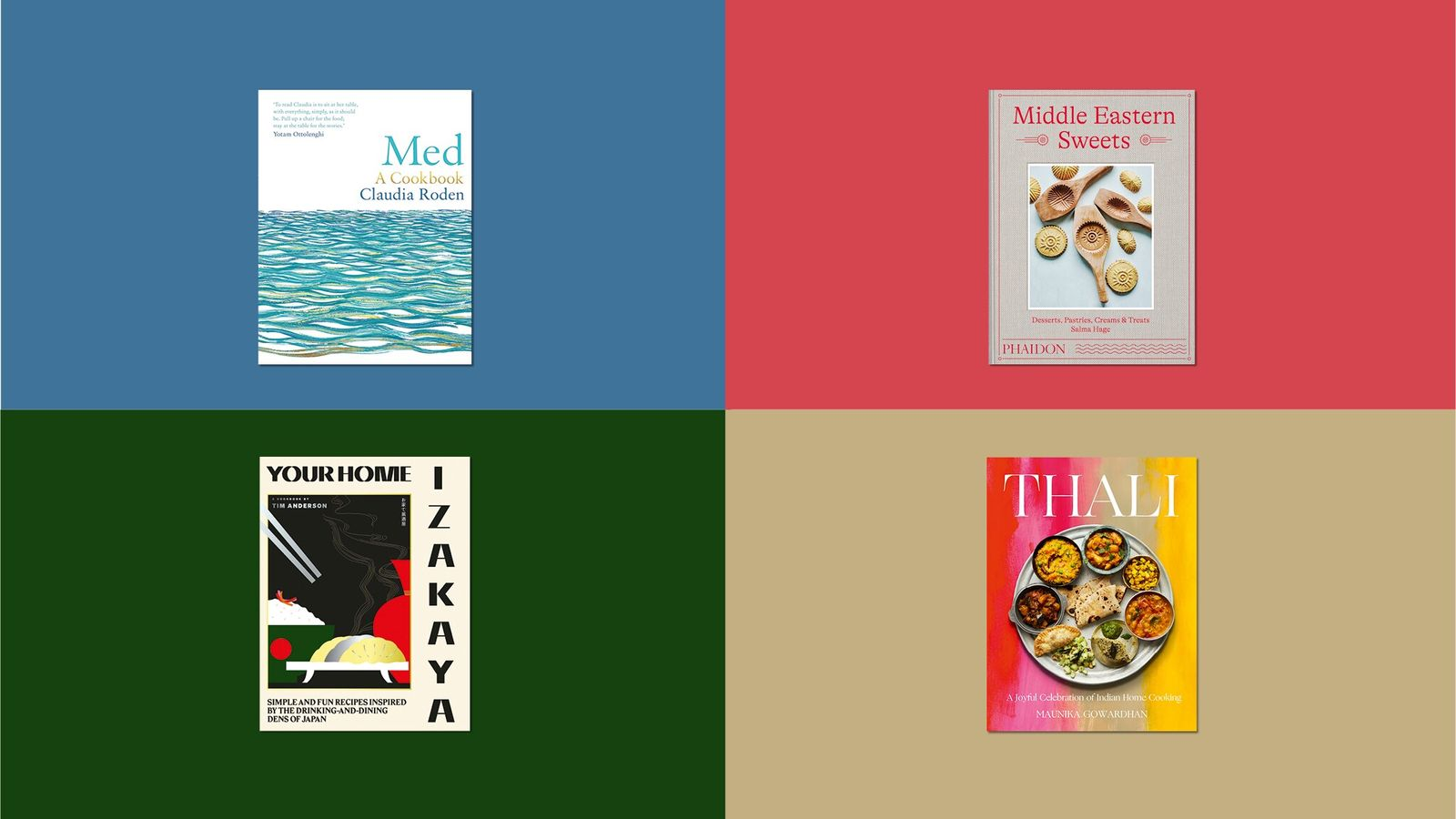 Clockwise from the top: Med: A Cookbook, by Claudia Roden; Middle Eastern Sweets: Desserts, Pastries, Creams & Treats, ...