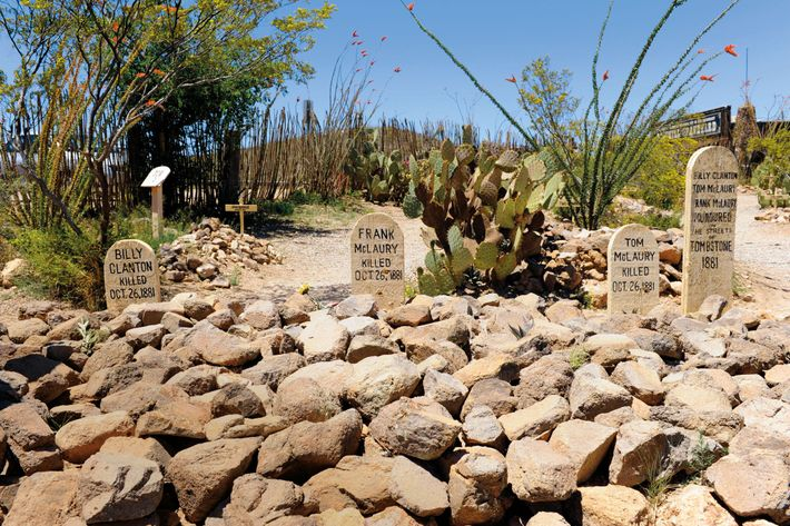 In Boothill Graveyard in Tombstone, Arizona, headstones mark the resting places of the three men killed ...