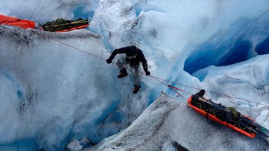 To ensure that Ousland, Colliard, and their supplies weren't lost down a deep crevasse, both climbers ...