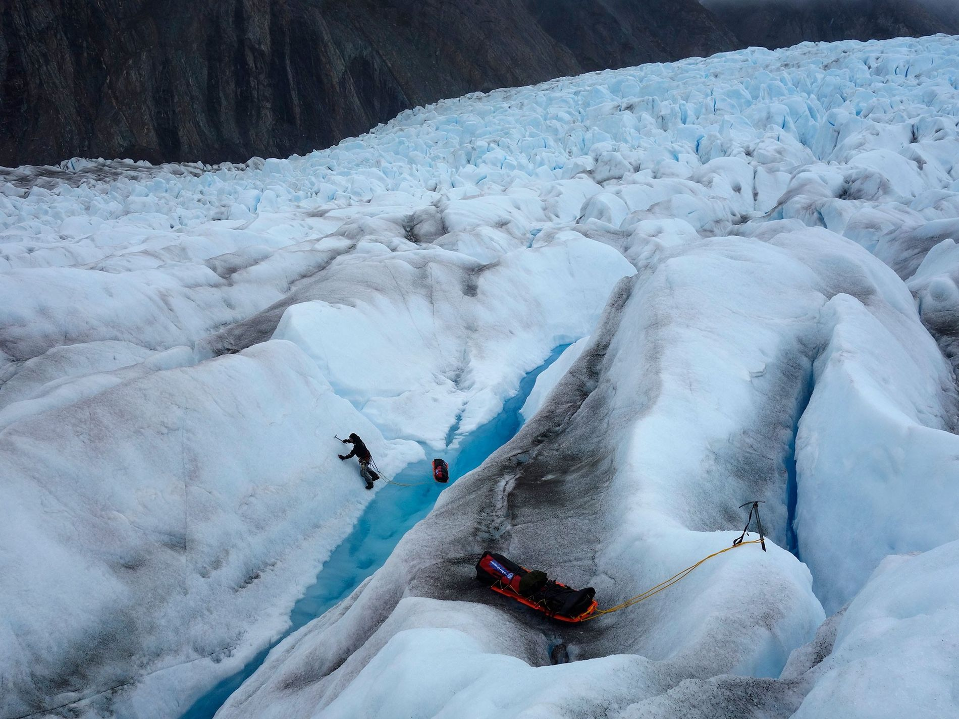 The pair had a difficult time crossing the Stikine Icecap. The region is packed with crevasses and, because they completed their trip in May, the chasms were filled with water.