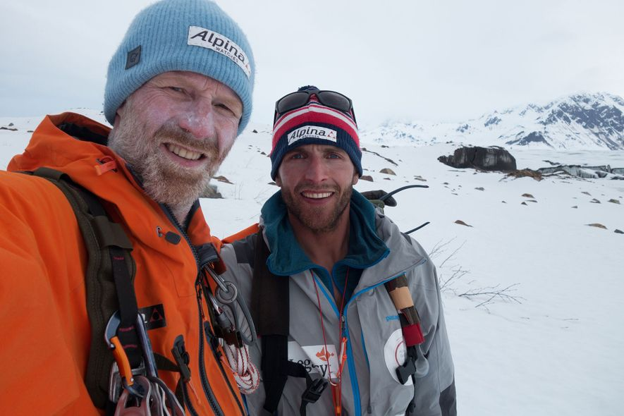 Børge Ousland and Vincent Colliard pose for a photo after crossing Alaska's Saint Elias ice field, ...