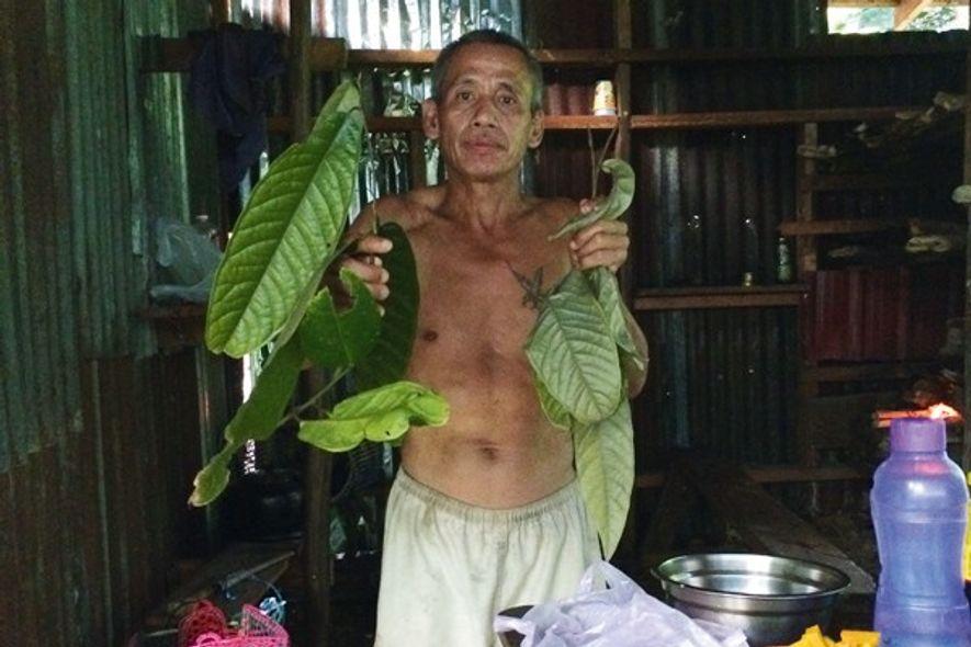 Muntai at the jungle camp.