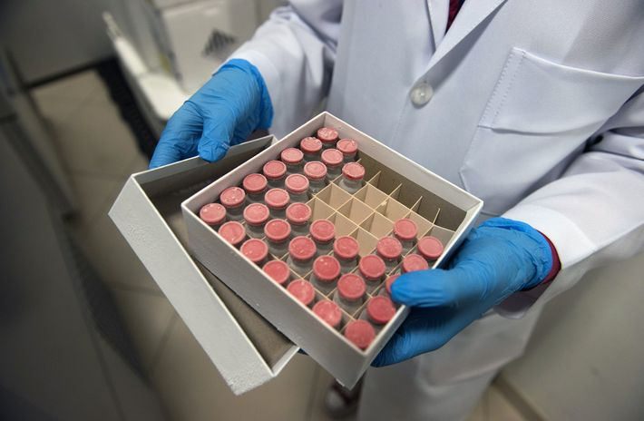 A box holds samples of ChAdOx1, the University of Oxford vaccine candidate, at the D'Or Institute ...