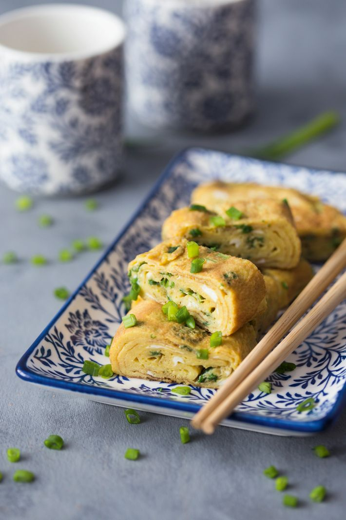 Tamagoyaki (traditional Japanese rolled omelette) with fresh chives.
