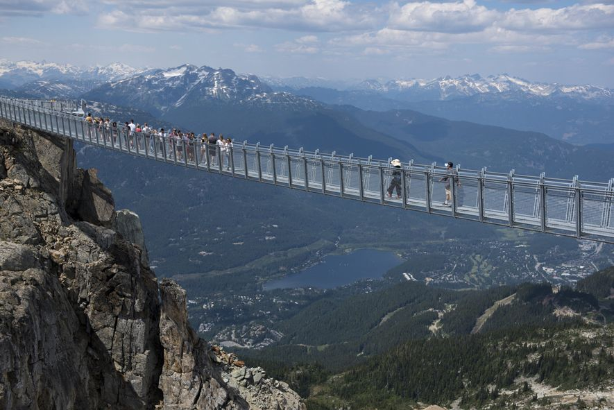 The Cloudraker Skybridge, which spans over 130 metres (400 feet), from Whistler Peak to West Ridge, ...