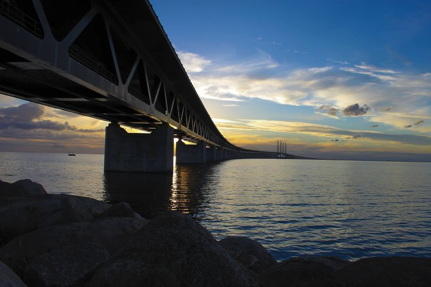 The 8km Oresund Bridge combines with an 8km railway tunnel to link Sweden and Denmark.
